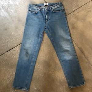 Acne studios mid rise straight leg blue jeans
